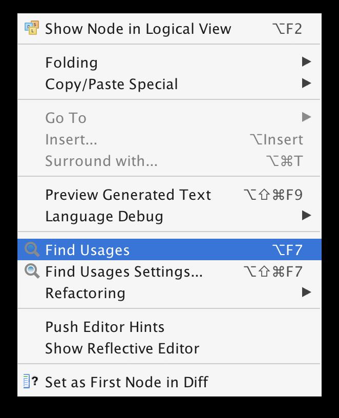 Find usages menu
